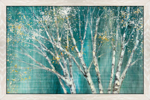Blue Birch Horizontal by Julia Purinton Print on Acrylic Landscapes,Green art,Landscape Shape,All Acrylic Art,Julia Purington,All Subjects,All Colors,All Shapes,All Artists