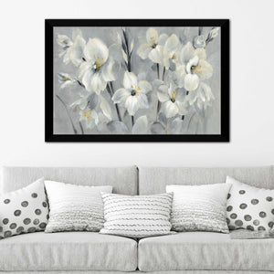 Flowers on Gray by Silvia Vassileva Print on Acrylic Floral,Gray art,Landscape Shape,All Acrylic Art,Silvia Vassileva,All Subjects,All Colors,All Shapes,All Artists