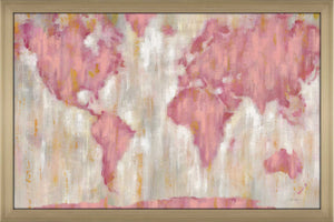 Blushing World Map v2 Crop by Silvia Vassileva Print on Acrylic Maps,Pink art,Landscape Shape,All Acrylic Art,Silvia Vassileva,All Subjects,All Colors,All Shapes,All Artists