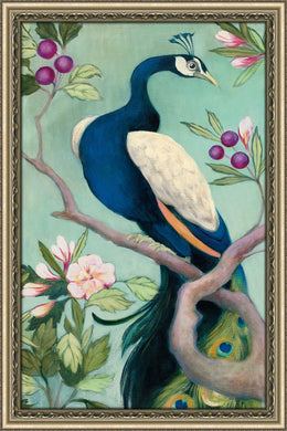 Pretty Peacock I by Julia Purinton Print on Acrylic Floral,Green art,Portrait Shape,All Acrylic Art,Julia Purington,All Subjects,All Colors,All Shapes,All Artists