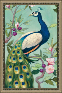 Pretty Peacock II by Julia Purinton Print on Acrylic Floral,Green art,Portrait Shape,All Acrylic Art,Julia Purington,All Subjects,All Colors,All Shapes,All Artists