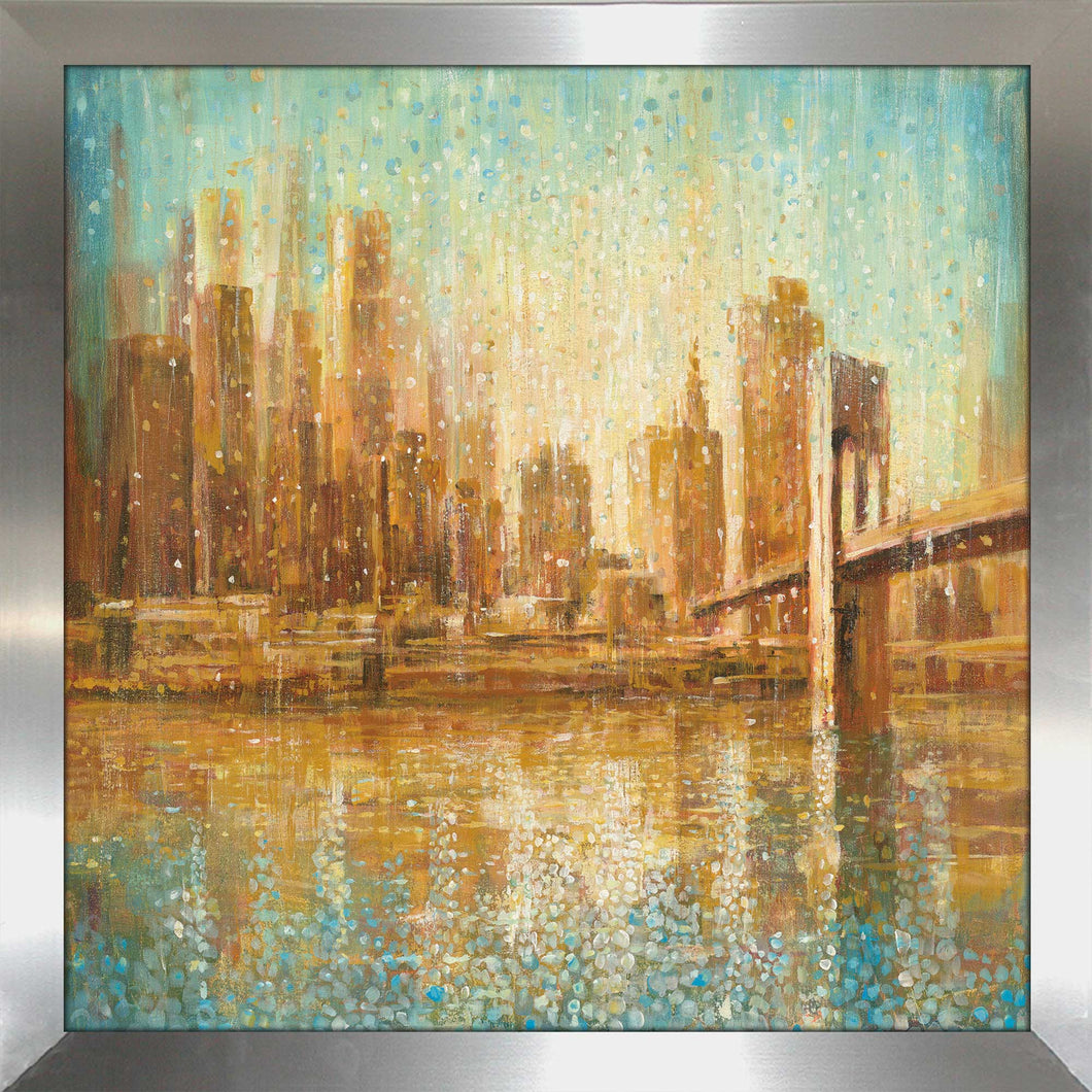 Champagne City Print on Acrylic Cityscapes,Romance,Orange art,Square Shape,All Acrylic Art,Danhui Nai,All Subjects,All Colors,All Shapes,All Artists