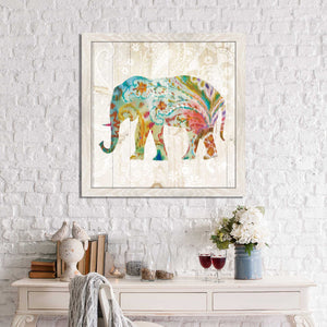 Boho Paisley Elephant II Print on Acrylic Animals,Blue art,Square Shape,All Acrylic Art,Danhui Nai,All Subjects,All Colors,All Shapes,All Artists
