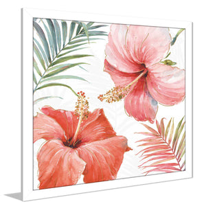 Tropical Blush III by Lisa Audit Print on Acrylic Floral,Red art,Square Shape,All Acrylic Art,Lisa Audit,All Subjects,All Colors,All Shapes,All Artists