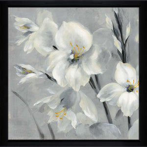 Flowers on Gray II by Silvia Vassileva Print on Acrylic Floral,Gray art,Square Shape,All Acrylic Art,Silvia Vassileva,All Subjects,All Colors,All Shapes,All Artists