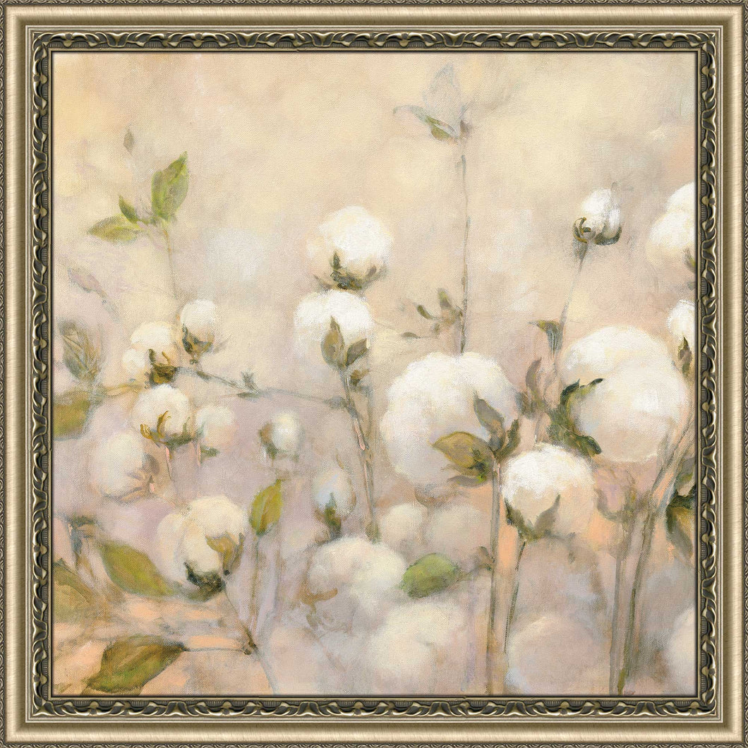 Cotton Field I by Julia Purinton Print on Acrylic Floral,Yellow art,Square Shape,All Acrylic Art,Julia Purington,All Subjects,All Colors,All Shapes,All Artists
