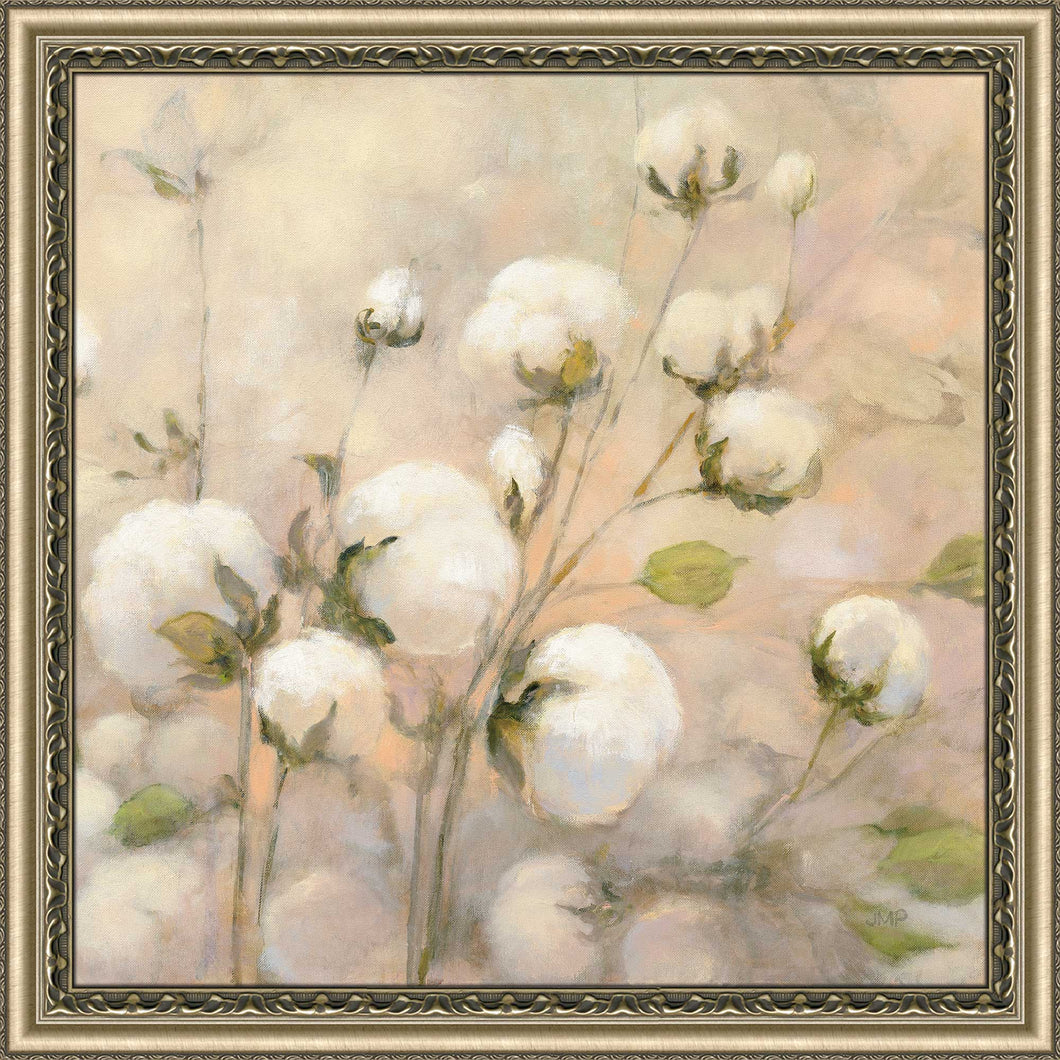 Cotton Field II by Julia Purinton Print on Acrylic Floral,Yellow art,Square Shape,All Acrylic Art,Julia Purington,All Subjects,All Colors,All Shapes,All Artists