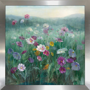 Cosmos at Dawn Print on Acrylic Floral,Green art,Square Shape,All Acrylic Art,Danhui Nai,All Subjects,All Colors,All Shapes,All Artists