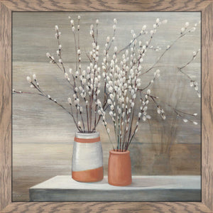 Pussy Willow Still Life I by Julia Purinton Print on Acrylic Floral,Brown art,Square Shape,All Acrylic Art,Julia Purington,All Subjects,All Colors,All Shapes,All Artists