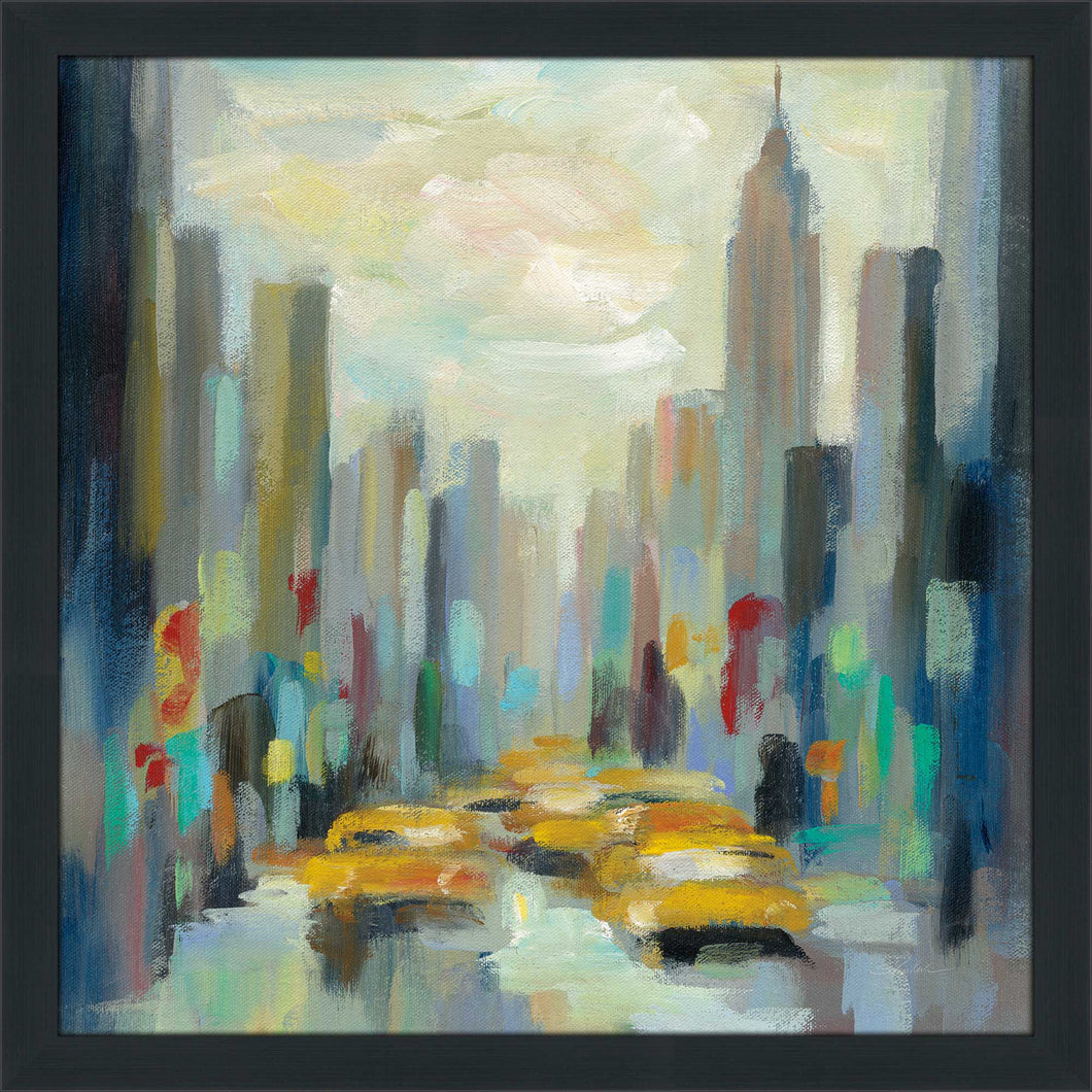 Manhattan Sketches II by Silvia Vassileva Print on Acrylic Cityscapes,Romance,Blue art,Square Shape,All Acrylic Art,Silvia Vassileva,All Subjects,All Colors,All Shapes,All Artists
