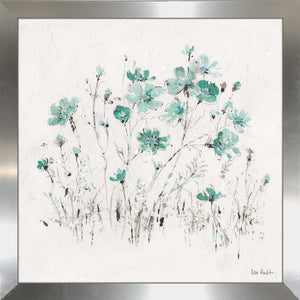 Wildflowers II Turquoise by Lisa Audit Print on Acrylic Floral,White art,Square Shape,All Acrylic Art,Lisa Audit,All Subjects,All Colors,All Shapes,All Artists