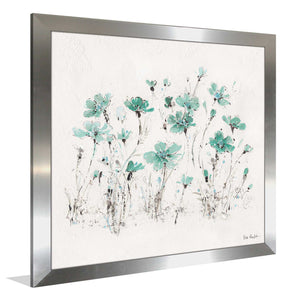 Wildflowers III Turquoise by Lisa Audit Print on Acrylic Floral,White art,Square Shape,All Acrylic Art,Lisa Audit,All Subjects,All Colors,All Shapes,All Artists