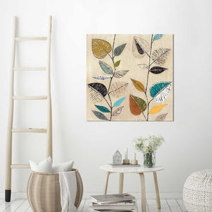 Dancing Leaves I by Tava Studios Print on CanvasFloral,Yellow art, Square Shape,Tava Studios,All Canvas Art,All Subjects,All Colors,All Shapes,All Artists