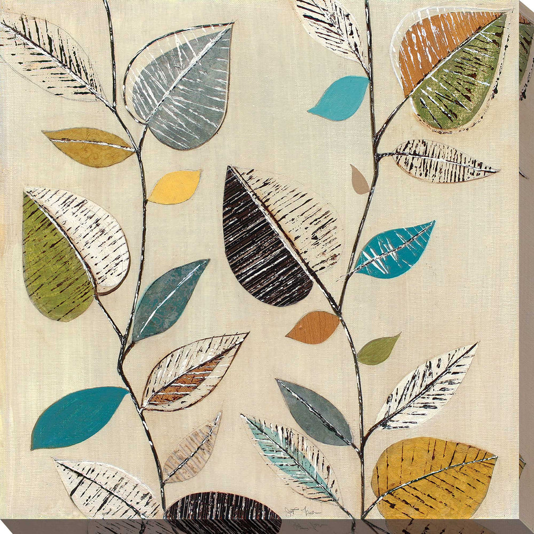 Dancing Leaves II by Tava Studios Print on CanvasFloral,Yellow art, Square Shape,Tava Studios,All Canvas Art,All Subjects,All Colors,All Shapes,All Artists