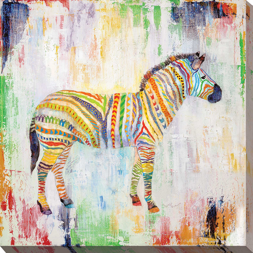 Magical Zebra by Tava Studios Print on CanvasAnimals,Yellow art, Square Shape,Tava Studios,All Canvas Art,All Subjects,All Colors,All Shapes,All Artists