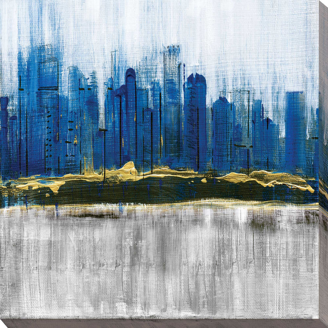 Sapphire City by Susan Jill Print on CanvasCityscapes,Blue art, Square Shape,Susan Jill,All Canvas Art,All Subjects,All Colors,All Shapes,All Artists