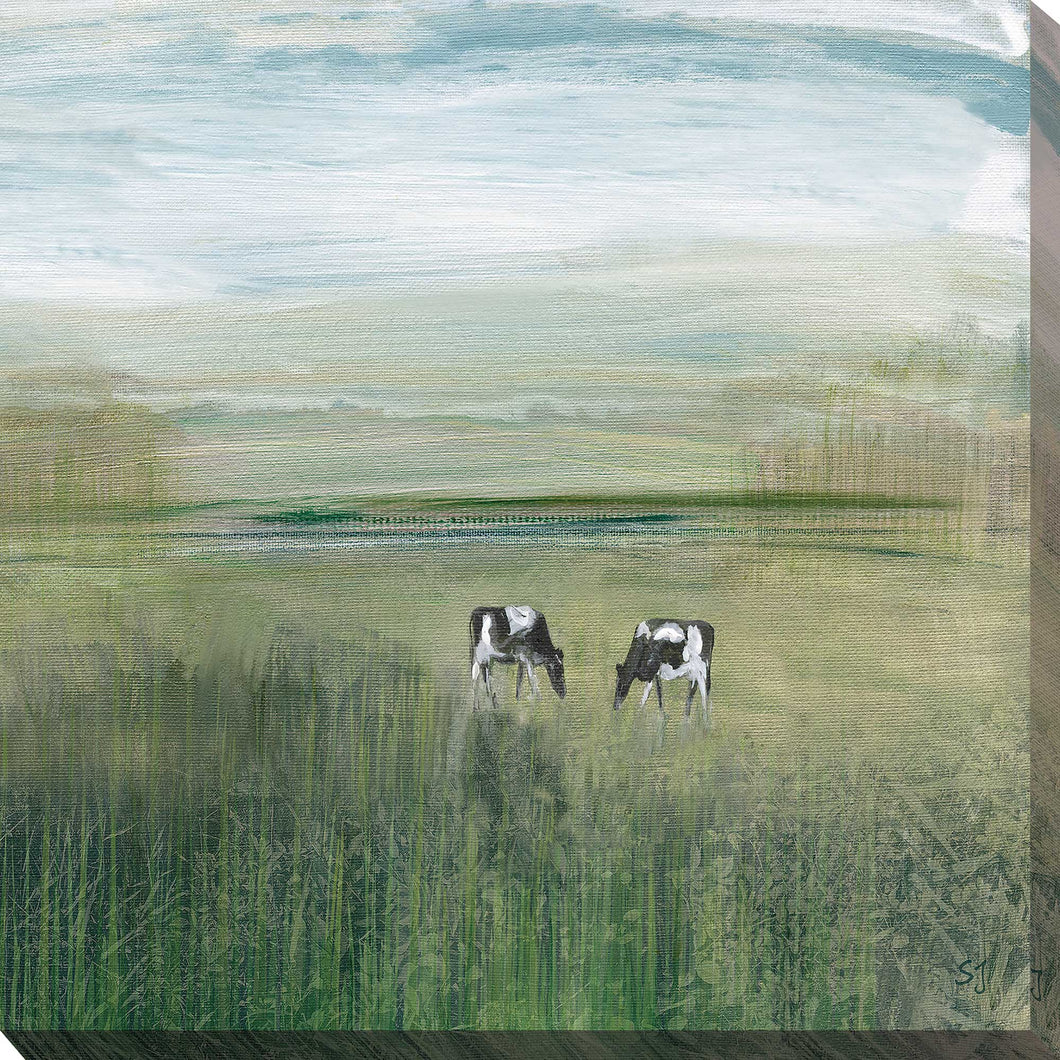 Grazing In Shandelee 2 by Susan Jill Print on CanvasRustic & Country,Blue art, Square Shape,Susan Jill,All Canvas Art,All Subjects,All Colors,All Shapes,All Artists,Rustic & Country,Animals