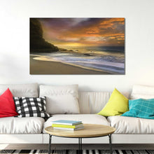 Morning Fire by Mike Calascibetta Print on CanvasSea and Shore,Orange art, Landscape Shape,Mike Calascibetta,All Canvas Art,All Subjects,All Colors,All Shapes,All Artists