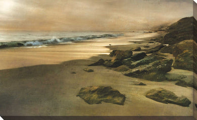Beach at Dusk by Mike Calascibetta Print on CanvasSea and Shore,Yellow art, Landscape Shape,Mike Calascibetta,All Canvas Art,All Subjects,All Colors,All Shapes,All Artists