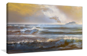 Distant Island I by Mike Calascibetta Print on CanvasSea and Shore,Yellow art, Landscape Shape,Mike Calascibetta,All Canvas Art,All Subjects,All Colors,All Shapes,All Artists