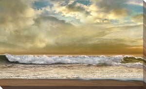 Evening Wave by Mike Calascibetta Print on CanvasSea and Shore,Yellow art, Landscape Shape,Mike Calascibetta,All Canvas Art,All Subjects,All Colors,All Shapes,All Artists