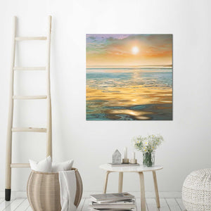 Evening Calm by Mike Calascibetta Print on CanvasSea and Shore,Orange art, Square Shape,Mike Calascibetta,All Canvas Art,All Subjects,All Colors,All Shapes,All Artists