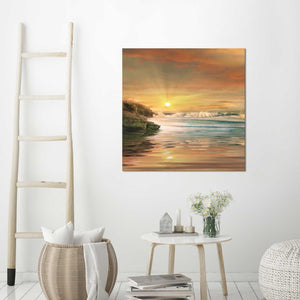 Sundown by Mike Calascibetta Print on CanvasSea and Shore,Orange art, Square Shape,Mike Calascibetta,All Canvas Art,All Subjects,All Colors,All Shapes,All Artists
