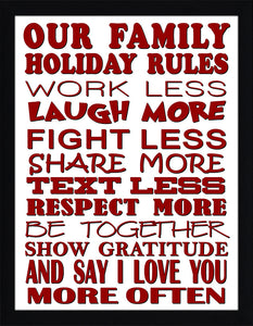 Family Holiday Rules  Framed Wall Art