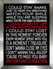 I Dont Want to Miss a Thing  Framed Wall Art