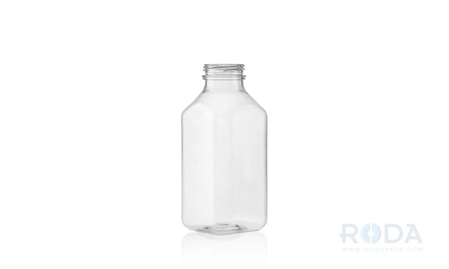 12 oz SQB Clear Juice Square Bottles 38 DBJ