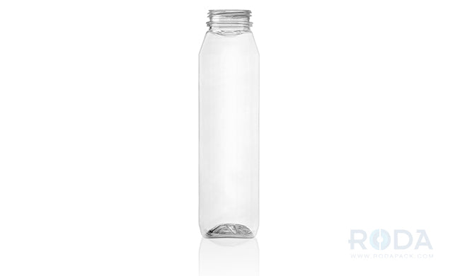 12 oz WH Clear Juice Square Straight-Angles Modern Bottles