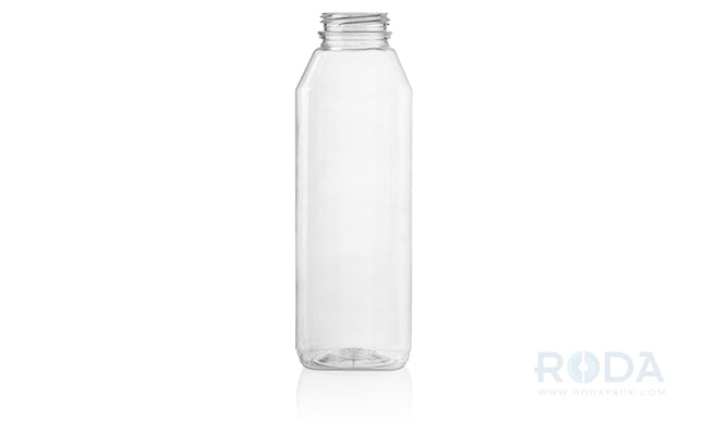 16 oz WH Clear Juice Square Straight-Angles Modern Bottles
