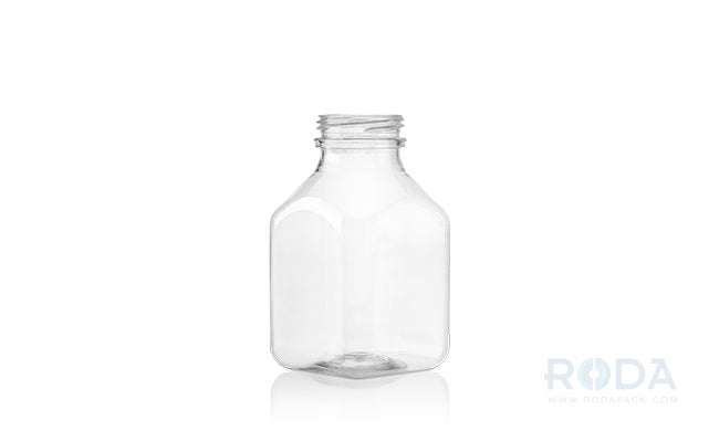 8 oz SQB Clear Juice Square Bottles 38 DBJ