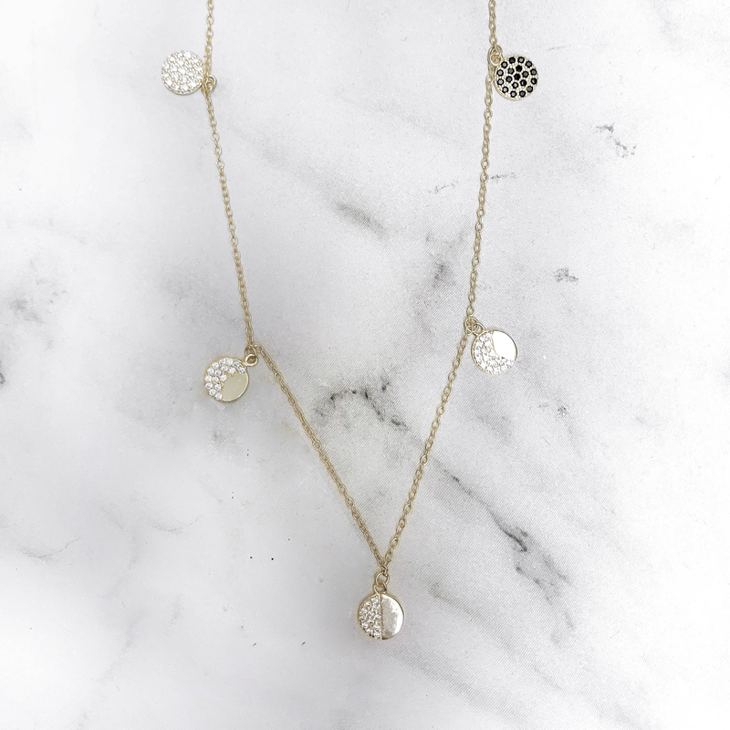 'MOON PHASE' Necklace in Goud