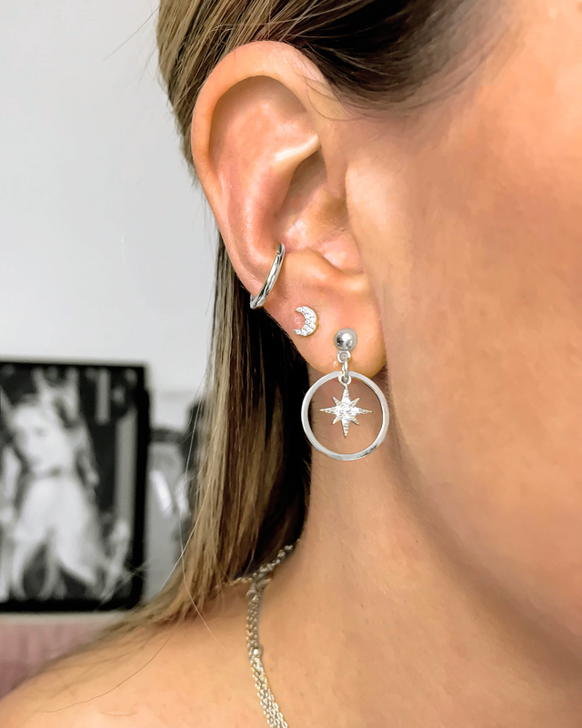 'MOON STUD' Earrings in Zilver