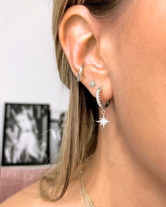 'STAR STUD' Earrings in Zilver