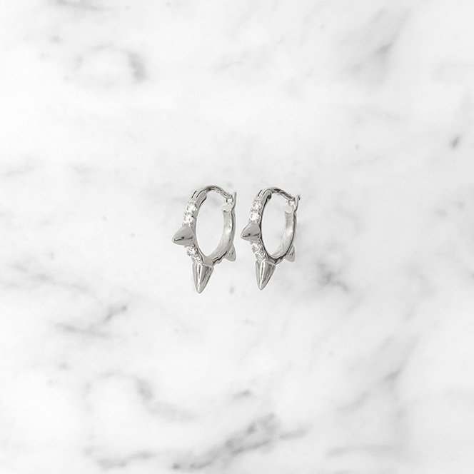 'SPIKY SPARKLE' Earrings in Zilver