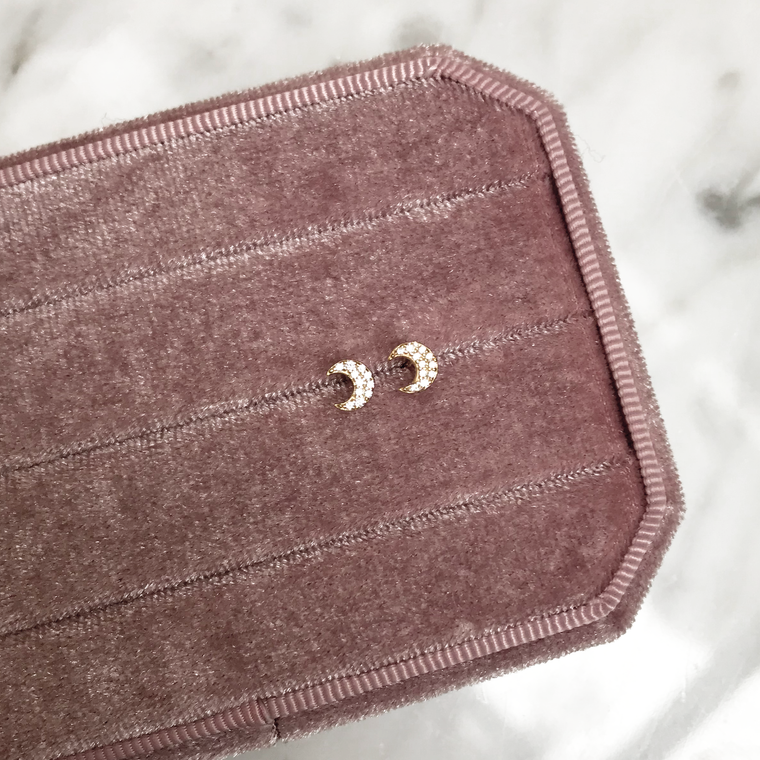 'MOON STUD' Earrings in Goud
