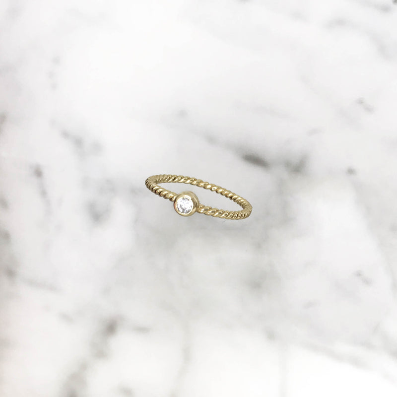 'TWISTED DIAMOND' Ring in Goud