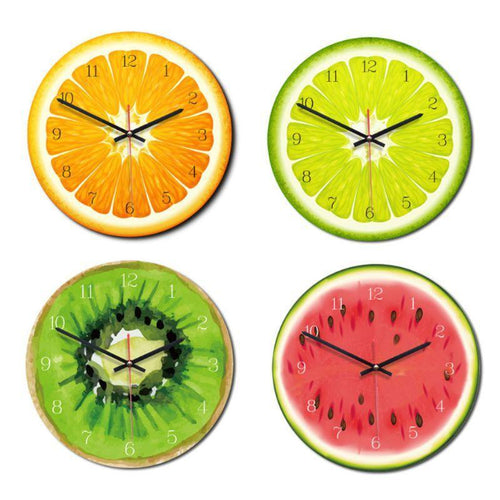 28cm Acrylic Creative Fruit Printed Wooden Digital Wall Clock Silent Quartz - HomeWareBargains