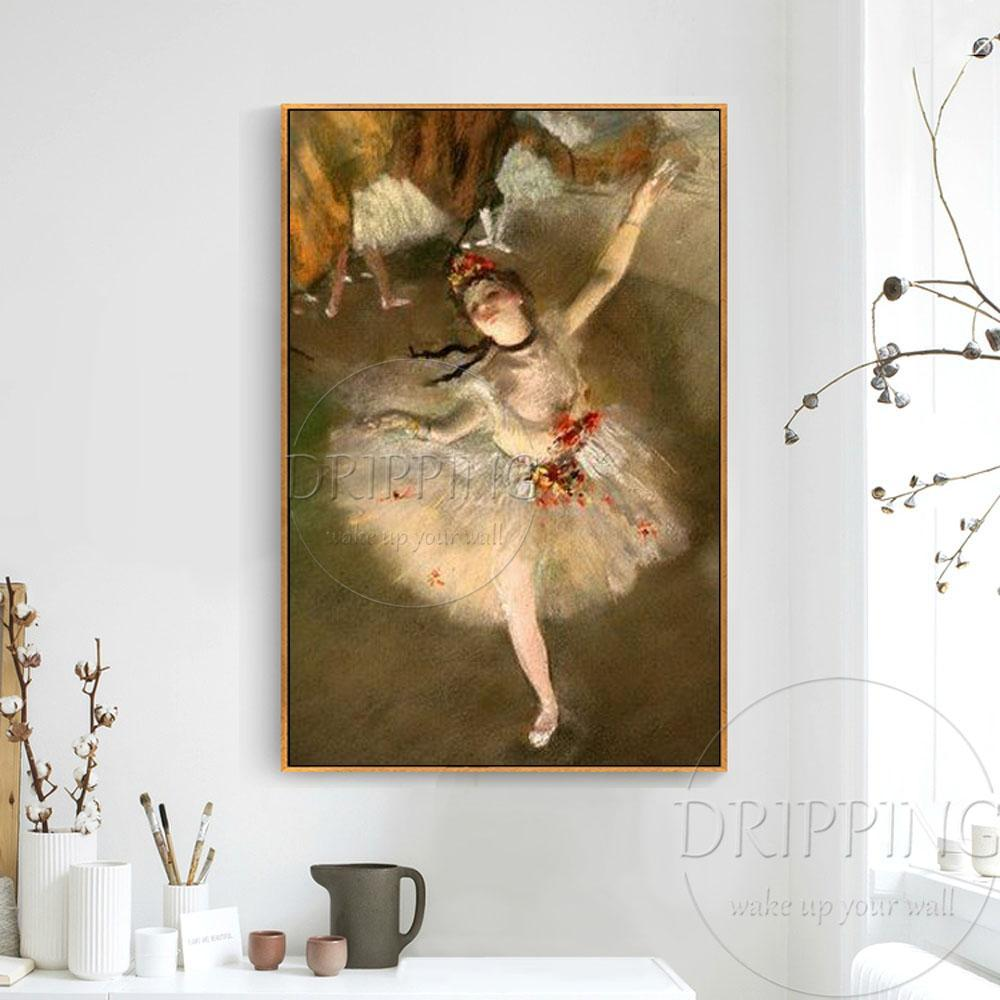 Edgar Degas Ballerina - Hand Painted Reproduction Oil Painting on Canvas - HomeWareBargains