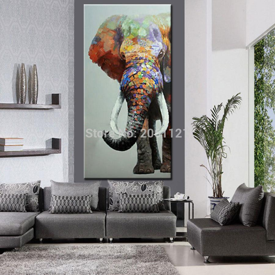 Hand Painted Elephant - Abstract textured Oil Painting on Canvas. - HomeWareBargains