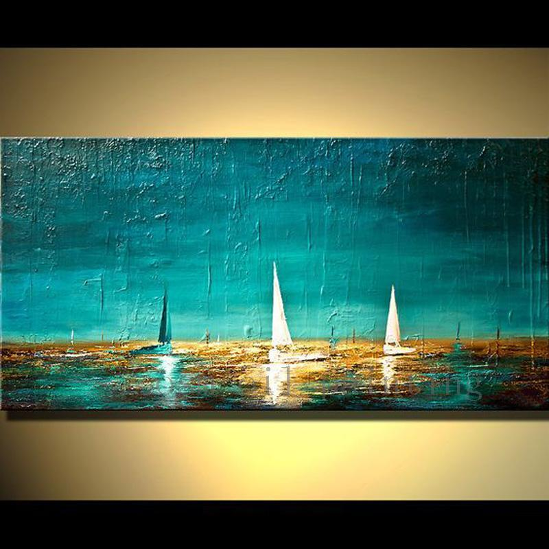 Hand Painted Heavy Textured Paint on Canvas Boats in Ocean Oil on Canvas - HomeWareBargains