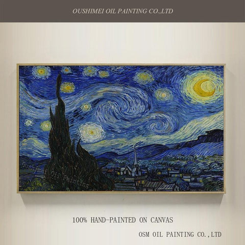 Hand Painted High Quality Reproduction of Vincent Van Gogh's The Starry Night - Oil Painting On Canvas. - HomeWareBargains