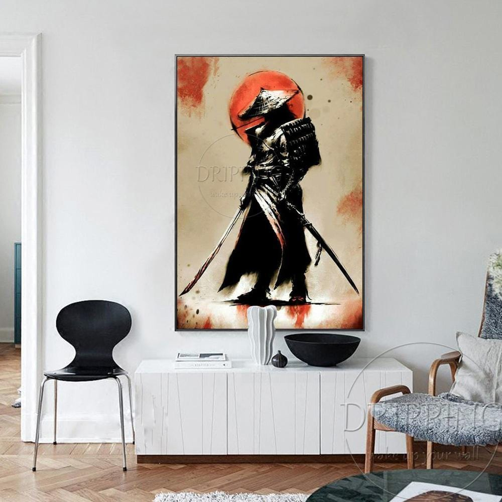 Hand Painted Japanese Swordsman Oil Painting on Canvas Kyushu Ronin. - HomeWareBargains
