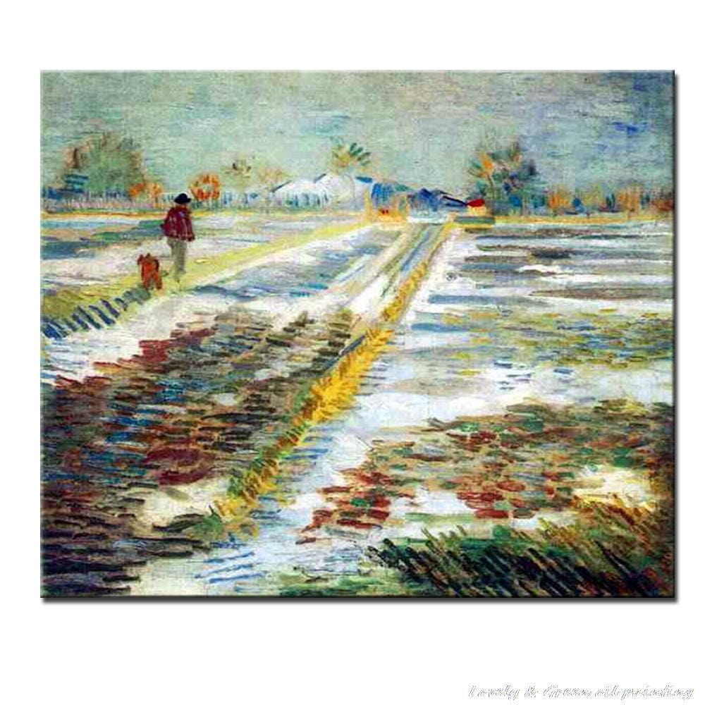 Landscape With Snow Of Vincent Van Gogh Hand Made Reproduction Oil Painting On Canvas - HomeWareBargains