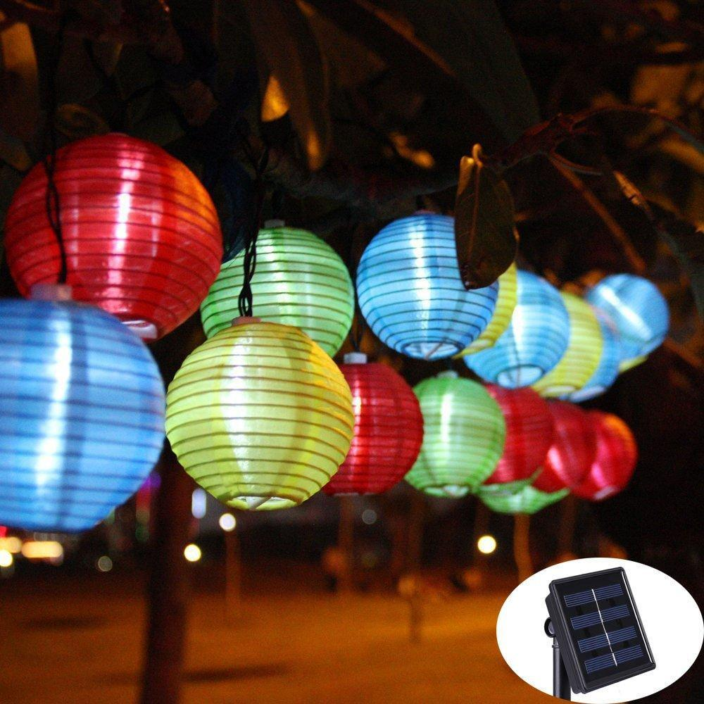Lantern Ball Solar String Lights 30 LED Solar Lamp Outdoor Lighting Fairy Globe - HomeWareBargains