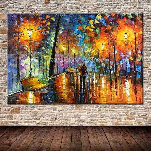Large Handpainted Lover Rain Street Tree Lamp Landscape Oil Painting On Canvas. - HomeWareBargains