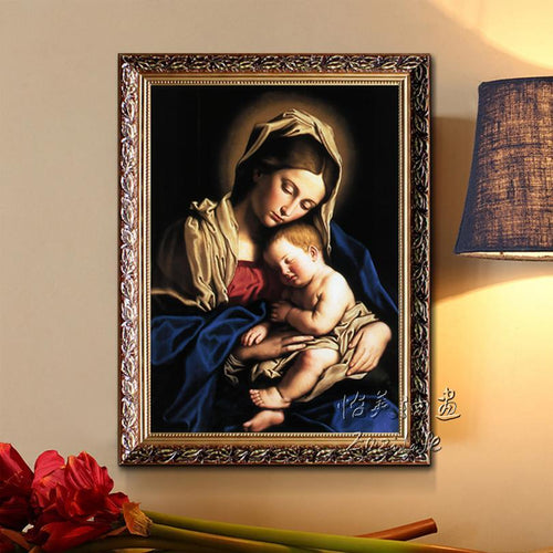 Mary Holding baby Jesus Mother Printed on Canvas - HomeWareBargains
