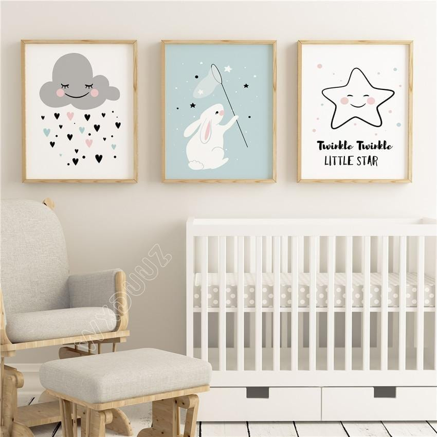 Nursery / Kids / Baby Room - Calming and soothing art. Print on Canvas - HomeWareBargains